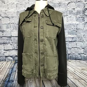Camo Green Black Jacket Moto Military Free People